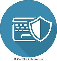 plat, icon., protection, données, design.
