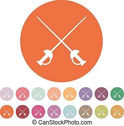 plat, icon., symbole., épée, epee