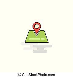 plat, icon., vecteur, emplacement