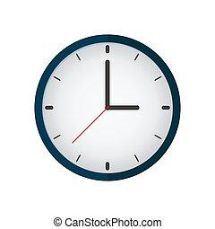 plat, icon., vecteur, illustration., horloge