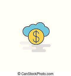 plat, icon., vecteur, opérations bancaires ligne