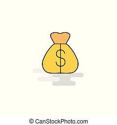 plat, icon., vecteur, sac argent