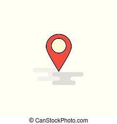 plat, icon., vector, plaats