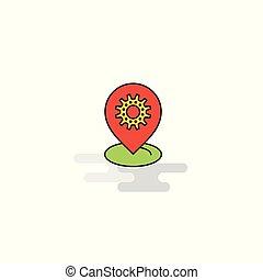 plat, icon., vector, vatting, plaats