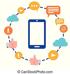 plat, iconen, beweeglijk, omringde, illustratie, vector, connectivity, internet, netten, sociaal