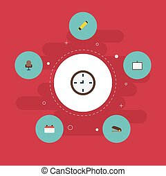 plat, iconen, datum, horloge, whiteboard, en, anderen, vector, elements., set, van, bureau, plat, iconen, symbolen, ook, omvat, teken, kantoor, highlighter, objects.