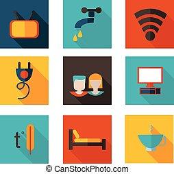 plat, iconen, format., thema, vector, herberg