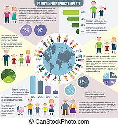plat, iconen, gezin, infographics