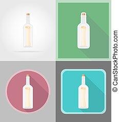 plat, iconen, illustratie, vector, fles, boodschap