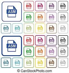 plat, iconen, kleur, geschetste, formaat, bestand, asm