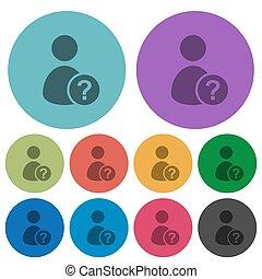 plat, iconen, kleur, onbekend, gebruiker, donkerder