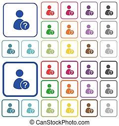 plat, iconen, kleur, onbekend, geschetste, gebruiker