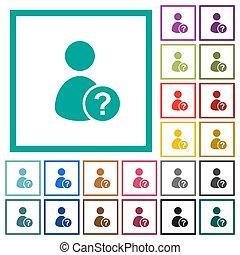 plat, iconen, kleur, onbekend, kwadrant, gebruiker, lijstjes
