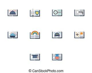 plat, iconen, kleur, vector, boekjes , lezende