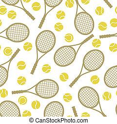 plat, iconen, model, tennis, seamless, sporten, ontwerp, ...