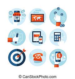 plat, iconen, ontwerp, e-handel