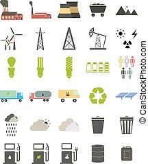 plat, iconen, op, de, thema, van, ecology.