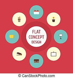 plat, iconen, penhouder, vechter, plant pot, en, anderen, vector, elements., set, van, bureau, plat, iconen, symbolen, ook, omvat, plant, kalender, koffer, objects.