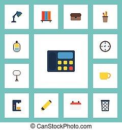 plat, iconen, plank, stander, bureau, licht, boekhandel, vector, elements., set, van, kantoor, plat, iconen, symbolen, ook, omvat, boekenkast, licht, koffie, objects.