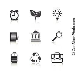 plat, iconen, set, met, reflectie
