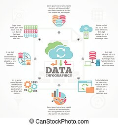 plat, iconen, spandoek, analytics, infographic, data