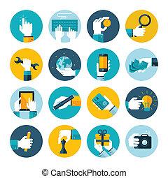 plat, iconen, van, hand, gebruik, items