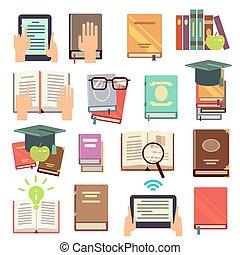 plat, iconen, vector, boekjes , lezende , bibliotheek