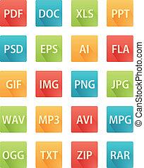plat, iconen, voor, bestand, formaten