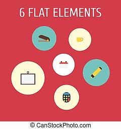 plat, iconen, whiteboard, thee, datum, en, anderen, vector, elements., set, van, bureau, plat, iconen, symbolen, ook, omvat, teken, trekken, kop, objects.