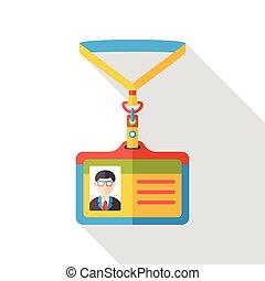 plat, identificatie, kantoor, pictogram