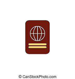 plat, identification, icône, document, passeport