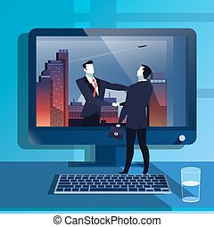 plat, illustratie, handclasp, vector, ontwerp, zakenlieden