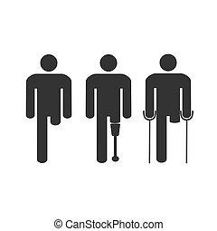 plat, illustratie, invalide, vector, amputee, man., design.