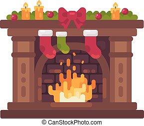 plat, illustratie, kadootjes, kousen, verfraaide, openhaard, kerstmis