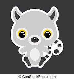 plat, illustratie, kinderen, weinig; niet zo(veel), liggen, zittende , lemur., vector, sticker, schattig