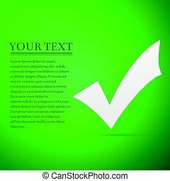 plat, illustratie,  Mark, achtergrond,  Vector, groene, controleren, pictogram