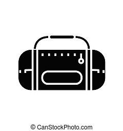 plat, illustratie, stereo, pictogram, black , vector, symbool, glyph, speler, concept, teken.