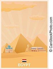 plat, illustration., affiche, voyage, egypt., vecteur