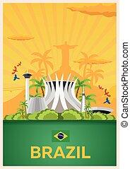 plat, illustration., affiche, voyage, vecteur, brazil.