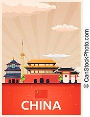 plat, illustration., affiche, voyage, vecteur, china.