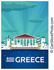 plat, illustration., affiche, voyage, vecteur, greece.
