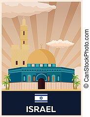 plat, illustration., affiche, voyage, vecteur, israel.