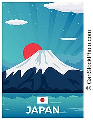 plat, illustration., affiche, voyage, vecteur, japan.