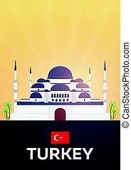 plat, illustration., affiche, voyage, vecteur, turkey.