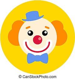 plat, illustration., app, web., clown, vecteur, ui, icône