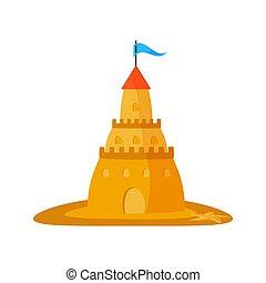 plat, illustration, arrière-plan., sable, vecteur, conception, blanc, château