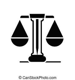 plat, illustration, balances, icône, noir, vecteur, symbole,...