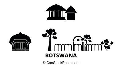 plat, illustration, botswana, voyage, landmarks., symbole, horizon, vecteur, noir, vues, ville, set.