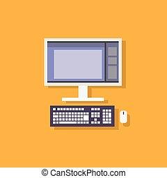 plat, illustration, bureau, vecteur, conception, icône