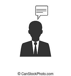 plat, illustration, business, vecteur, homme affaires, icon., design.